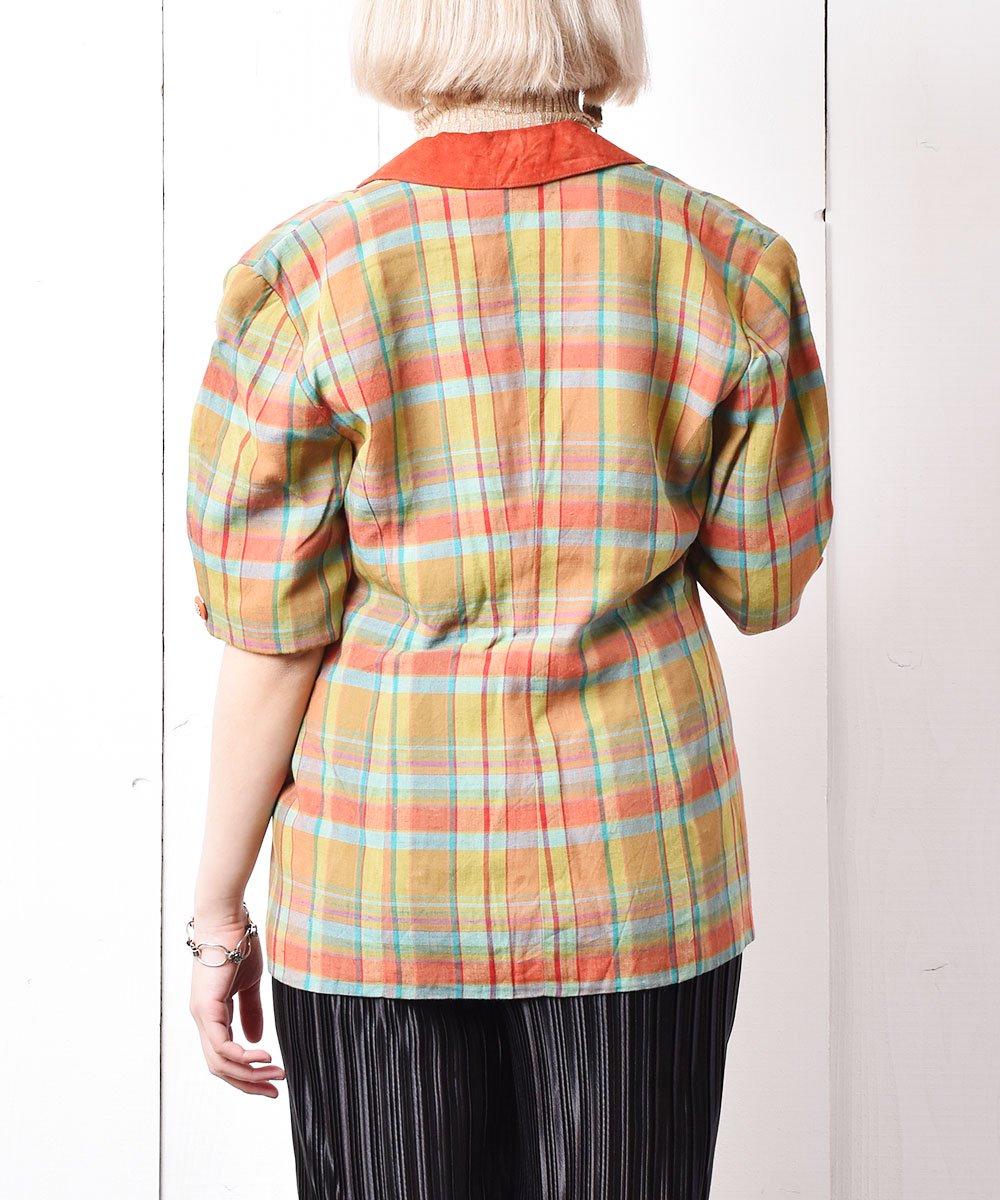 ハンガリー製 五分袖マドラスチェックコットンジャケット サムネイル