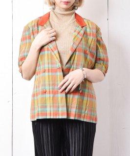 古着ハンガリー製 五分袖マドラスチェックコットンジャケット  古着のネット通販 古着屋グレープフルーツムーン