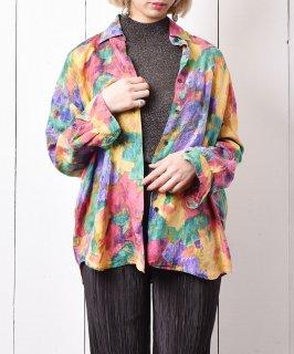 古着水彩画風 シルク ロングスリーブシャツ マルチカラー 古着のネット通販 古着屋グレープフルーツムーン