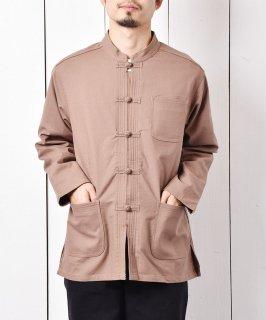 古着「Temptation」麻混 チャイナシャツ  ブラウン 古着のネット通販 古着屋グレープフルーツムーン