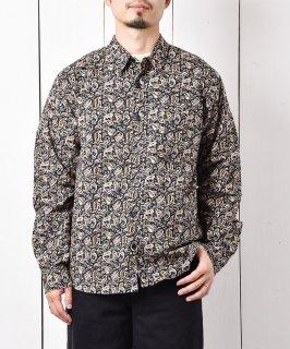 古着「Backers」 ペイズリー柄 ロングスリーブ シャツ ブラック 古着のネット通販 古着屋グレープフルーツムーン