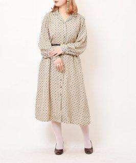 古着「Meridian」オープンカラー 小紋柄 ワンピース ベージュ 古着のネット通販 古着屋グレープフルーツムーン