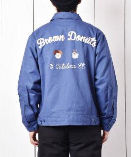 古着【2色展開】「Backers」コーヒー&ドーナッツ チェーンステッチ ワークジャケット ブルー 古着のネット通販 古着屋グレープフルーツムーン