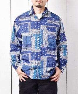 古着「Temptation」バンダナ柄 ビッグサイズ ロングスリーブシャツ ネイビー 古着のネット通販 古着屋グレープフルーツムーン