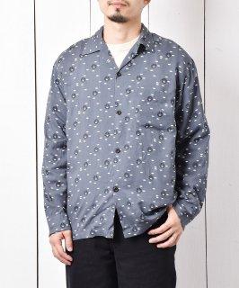 古着「Backers」アトミック柄 50's スタイル オープンカラーシャツ グレー 古着のネット通販 古着屋グレープフルーツムーン