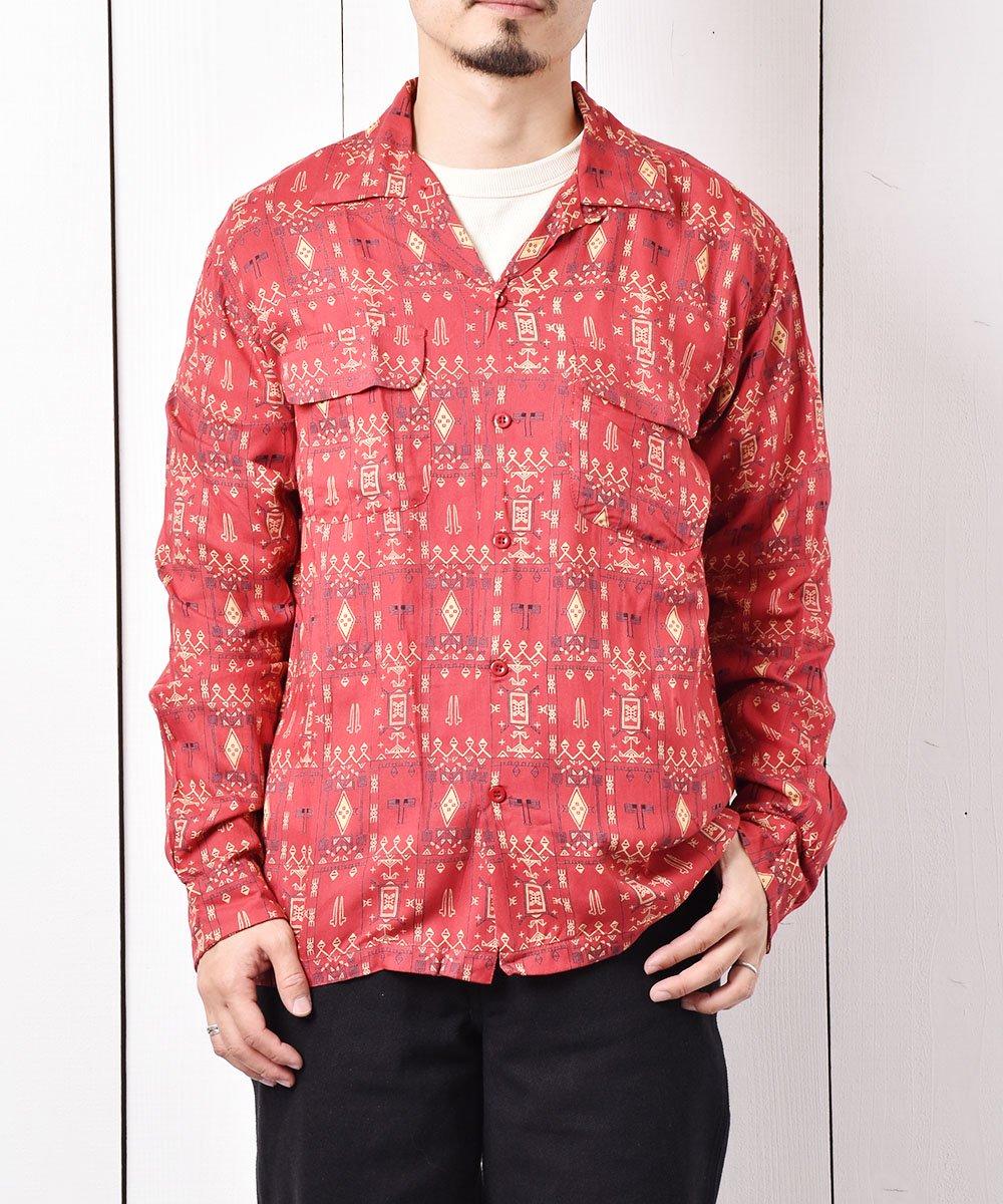 古着 「Backers」ジオメトリック柄  フラップポケット オープンカラーシャツ レッド 古着 ネット 通販 古着屋グレープフルーツムーン
