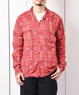 古着「Backers」ジオメトリック柄  フラップポケット オープンカラーシャツ レッド 古着のネット通販 古着屋グレープフルーツムーン