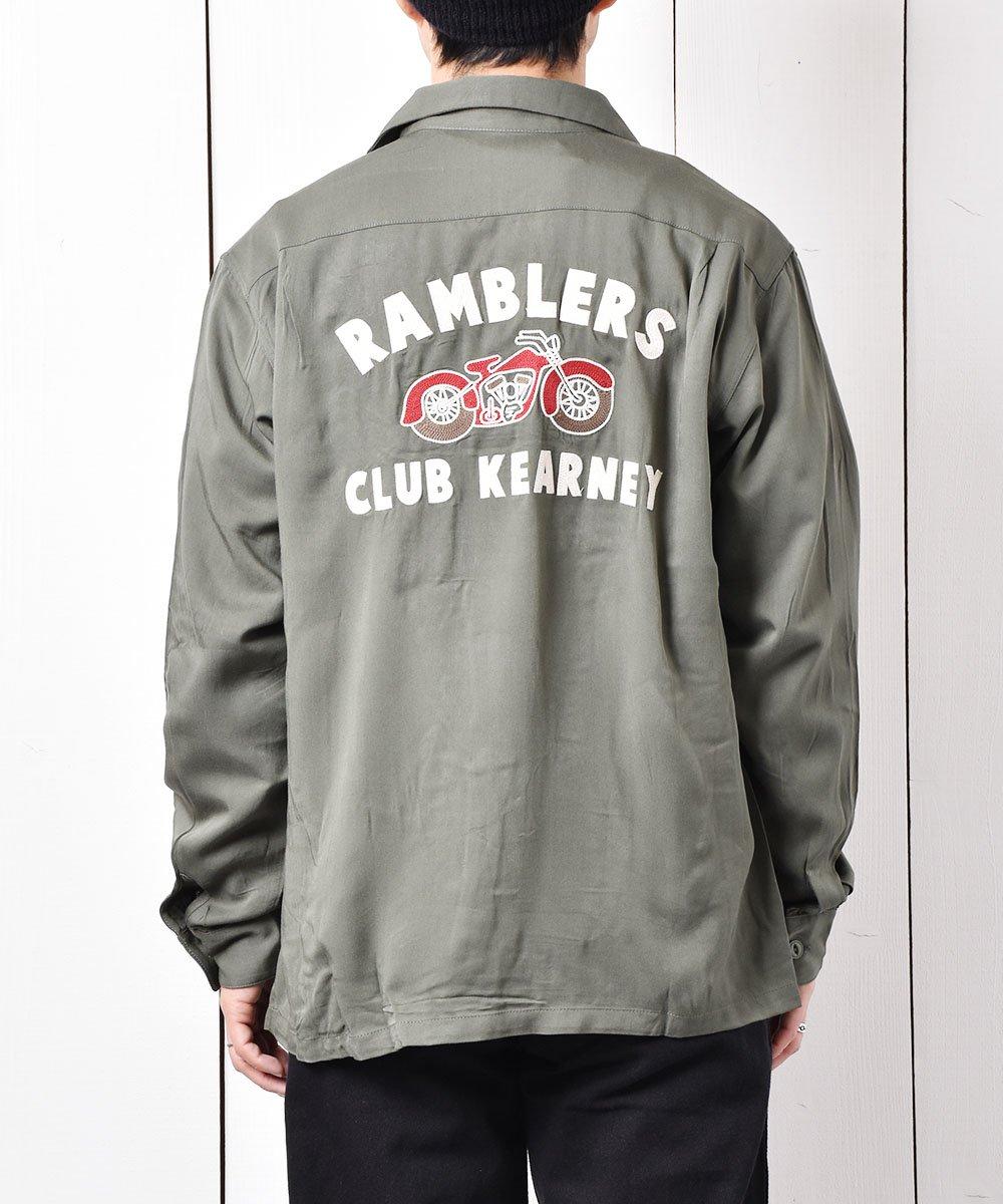 古着 【2色展開】「Backers」ランブラー クラブ カーニー バイク チェーンステッチ オープンカラーシャツ グリーン   古着 ネット 通販 古着屋グレープフルーツムーン