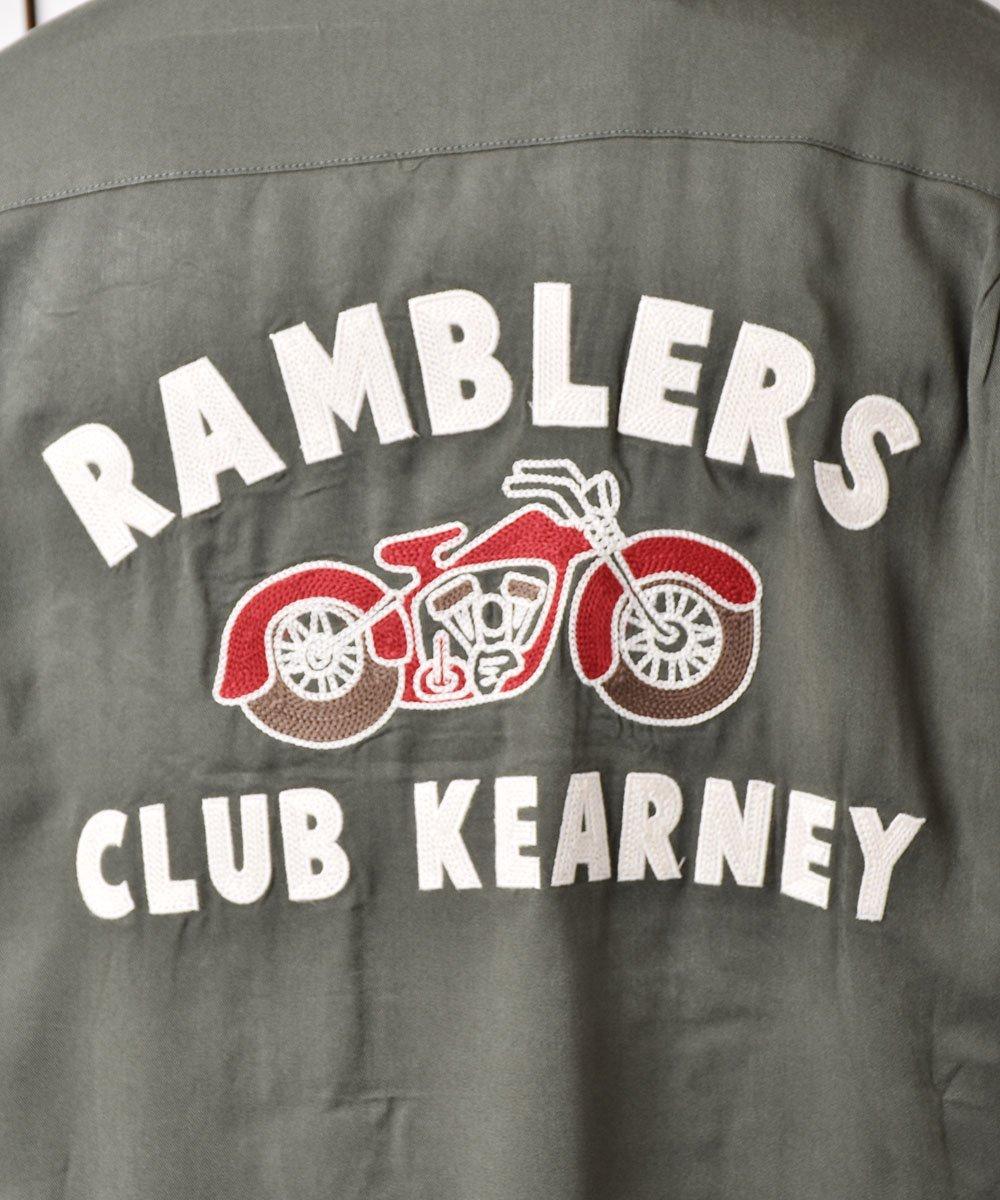 【2色展開】「Backers」ランブラー クラブ カーニー バイク チェーンステッチ オープンカラーシャツ グリーン  サムネイル