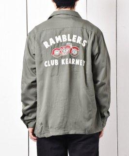 古着【2色展開】「Backers」ランブラー クラブ カーニー バイク チェーンステッチ オープンカラーシャツ グリーン   古着のネット通販 古着屋グレープフルーツムーン