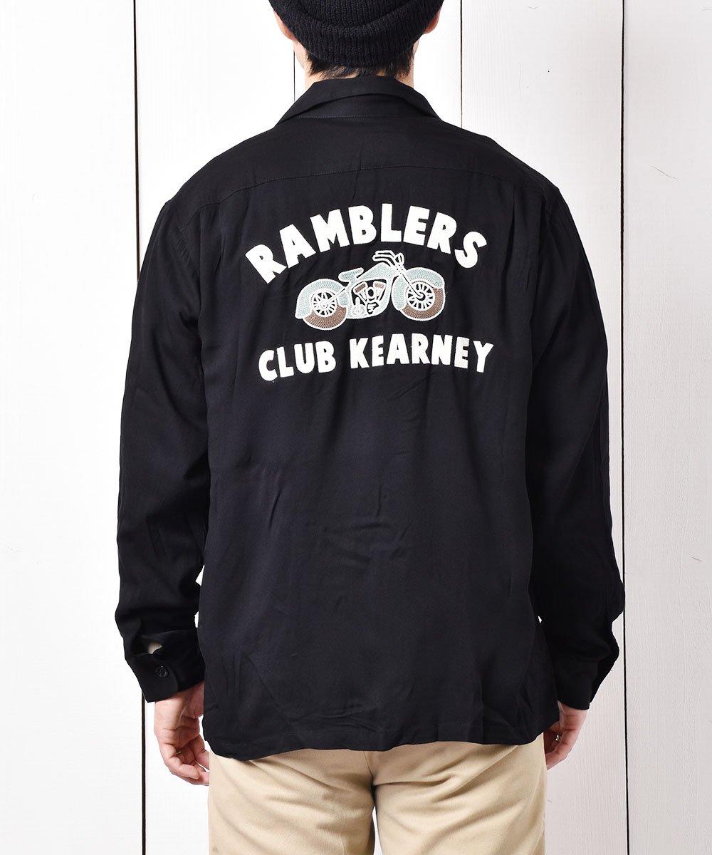古着 【2色展開】「Backers」ランブラー クラブ カーニー バイク チェーンステッチ オープンカラーシャツ ブラック 古着 ネット 通販 古着屋グレープフルーツムーン