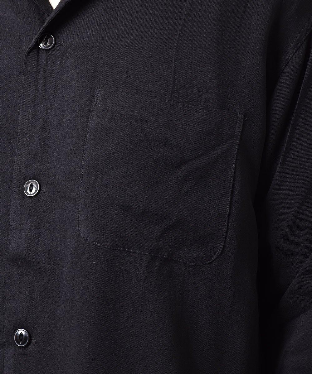 【2色展開】「Backers」ランブラー クラブ カーニー バイク チェーンステッチ オープンカラーシャツ ブラックサムネイル