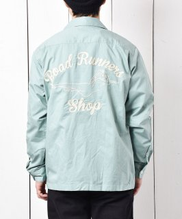 古着「Backers」ピンナップガール風 チェーンステッチ オープンカラーシャツ グリーン 古着のネット通販 古着屋グレープフルーツムーン