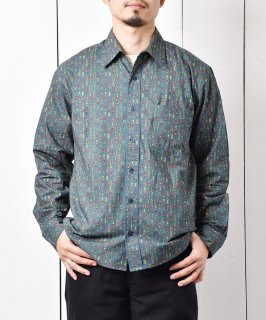 古着「Backers」スモールチェス 総柄 ロングスリーブシャツ グリーン 古着のネット通販 古着屋グレープフルーツムーン