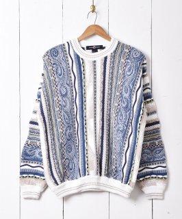 古着3Dデザイン コットンニットセーター ブルー系 古着のネット通販 古着屋グレープフルーツムーン