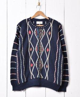 古着3Dデザイン コットンニットセーター ネイビー 古着のネット通販 古着屋グレープフルーツムーン