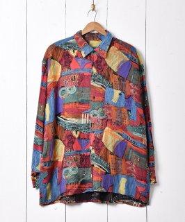古着絵画風デザイン 総柄シャツ 古着のネット通販 古着屋グレープフルーツムーン
