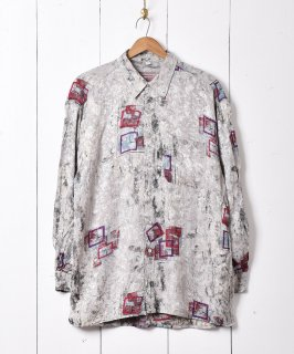 古着スクエアパターン  柄シャツ 古着のネット通販 古着屋グレープフルーツムーン
