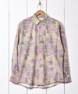 古着幾何学風デザイン 総柄シャツ 古着のネット通販 古着屋グレープフルーツムーン