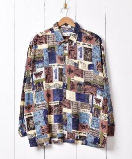 古着モザイクパターン 総柄シャツ 古着のネット通販 古着屋グレープフルーツムーン