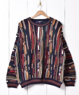 古着3Dデザイン コットンニットセーター ネイビー系 古着のネット通販 古着屋グレープフルーツムーン