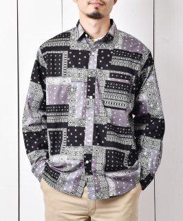 古着「Temptation」バンダナ柄 ロングスリーブシャツ ブラック 古着のネット通販 古着屋グレープフルーツムーン