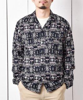 古着「Backers」ジオメトリック柄 50's ライク オープンカラー シャツ ブラック 古着のネット通販 古着屋グレープフルーツムーン
