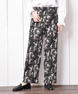 古着「Meridian」 花柄 プリーツ ロングパンツ ブラック 古着のネット通販 古着屋グレープフルーツムーン