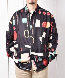 古着「Temptation」抽象絵画風 総柄 ロングスリーブシャツ ブラック 古着のネット通販 古着屋グレープフルーツムーン