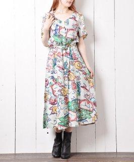 古着抽象画風デザイン 半袖ワンピース 古着のネット通販 古着屋グレープフルーツムーン
