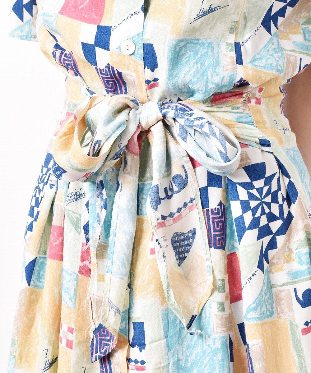 モザイクパターン くすみカラー 半袖ワンピースサムネイル
