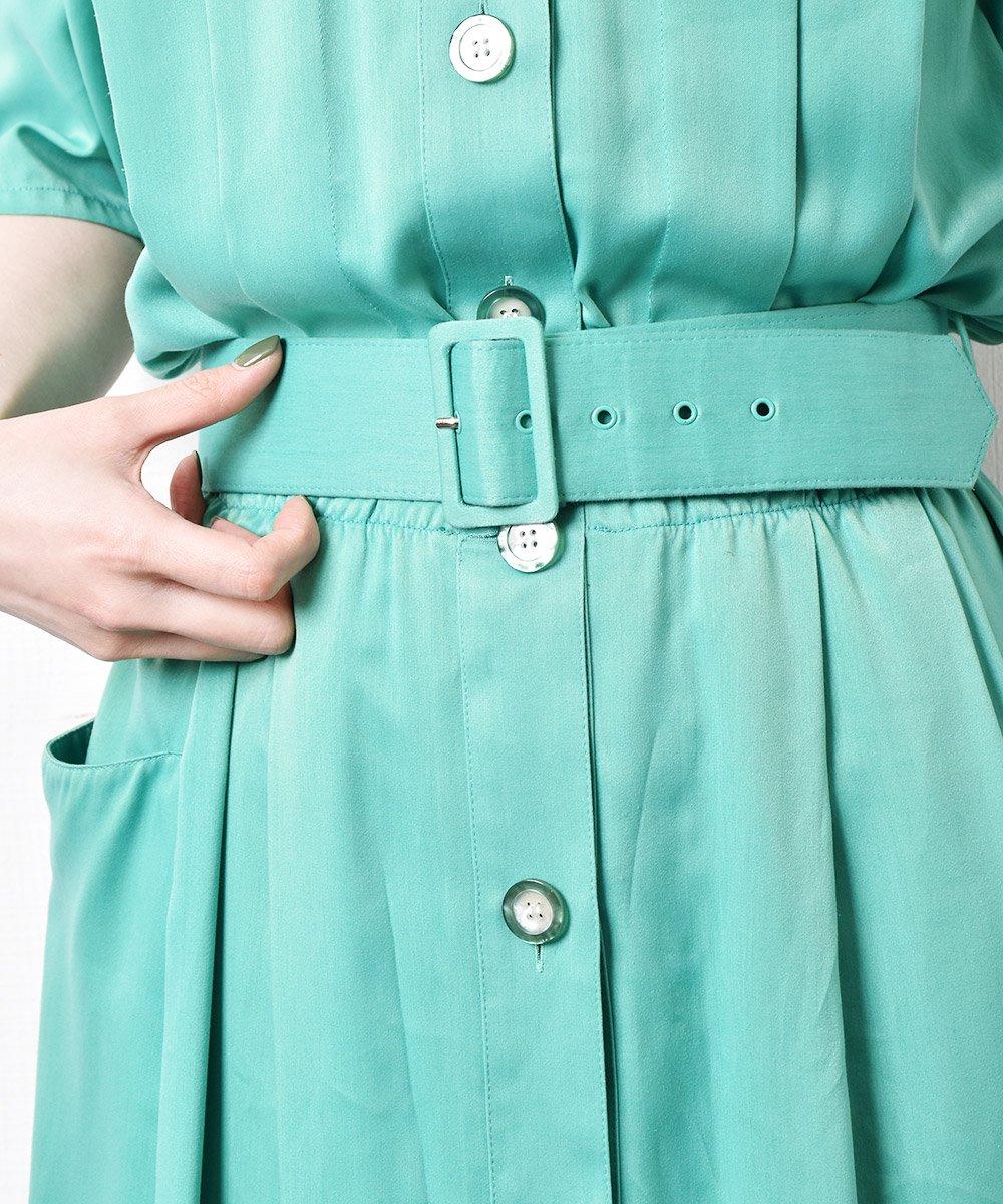 オープンカラー ベルト付き半袖ワンピース グリーンサムネイル