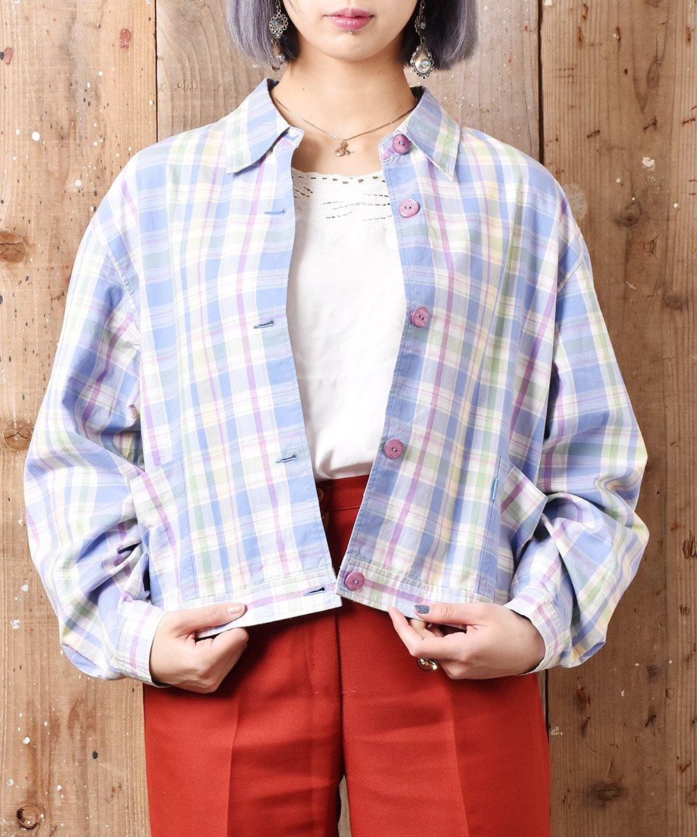 古着 「LIZGOLF」チェック柄 ショート丈ジャケット 古着 ネット 通販 古着屋グレープフルーツムーン