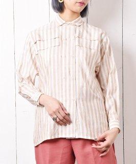 古着ストライプ柄 ダブルボタンデザインロングスリーブシャツ 古着のネット通販 古着屋グレープフルーツムーン