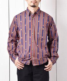 古着「Backers」ストライプシャツ マルチカラー 古着のネット通販 古着屋グレープフルーツムーン