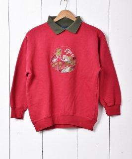 古着ボタニカル刺繍 襟付き スウェットシャツ ピンク 古着のネット通販 古着屋グレープフルーツムーン