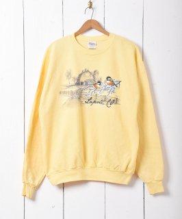 古着小鳥 アニマルプリントスウェットシャツ イエロー  古着のネット通販 古着屋グレープフルーツムーン