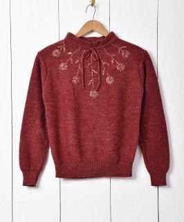 古着フラワーモチーフ 刺繍 セーター 古着のネット通販 古着屋グレープフルーツムーン
