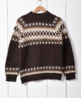 古着デンマーク製 ノルディックセーター ブラウン 古着のネット通販 古着屋グレープフルーツムーン