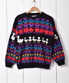 古着アメリカ製 フラワーモチーフ クルーネックセーター 古着のネット通販 古着屋グレープフルーツムーン