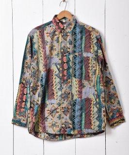 古着マルチパターン ロングスリーブシャツ 古着のネット通販 古着屋グレープフルーツムーン