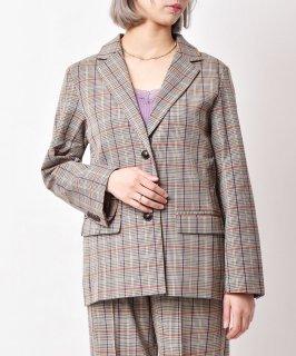 古着「meridian」チェック柄 テーラードジャケット オレンジ 古着のネット通販 古着屋グレープフルーツムーン
