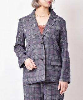 古着「meridian」チェック柄 テーラードジャケット パープル 古着のネット通販 古着屋グレープフルーツムーン