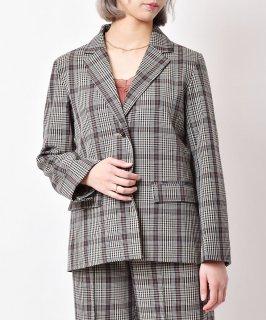 古着「meridian」チェック柄 テーラードジャケット ベージュ 古着のネット通販 古着屋グレープフルーツムーン