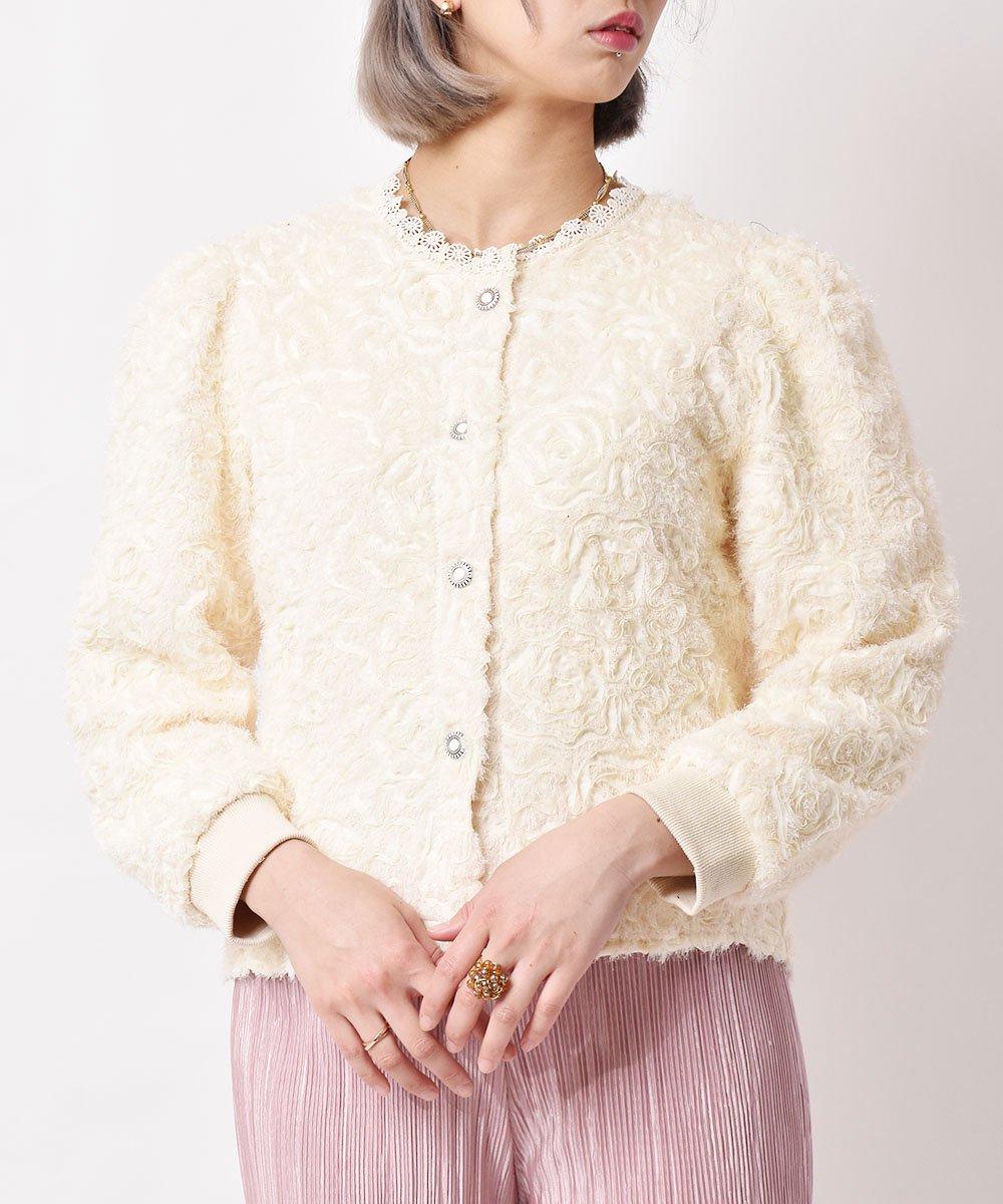 古着 「meridian」 ラメ入り シャギー カーディガン ホワイト 古着 ネット 通販 古着屋グレープフルーツムーン