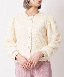 古着「meridian」 ラメ入り シャギー カーディガン ホワイト 古着のネット通販 古着屋グレープフルーツムーン