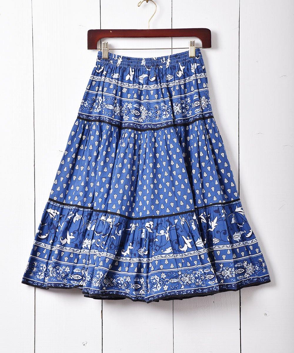 古着 フランス製 プロヴァンススカート ブルー 古着 ネット 通販 古着屋グレープフルーツムーン