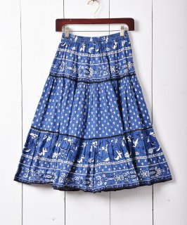 古着フランス製 プロヴァンススカート ブルー 古着のネット通販 古着屋グレープフルーツムーン