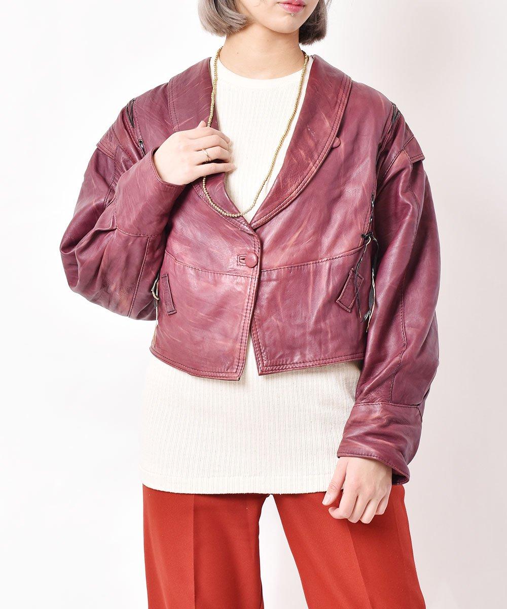 古着 レザーデザインジャケット 古着 ネット 通販 古着屋グレープフルーツムーン