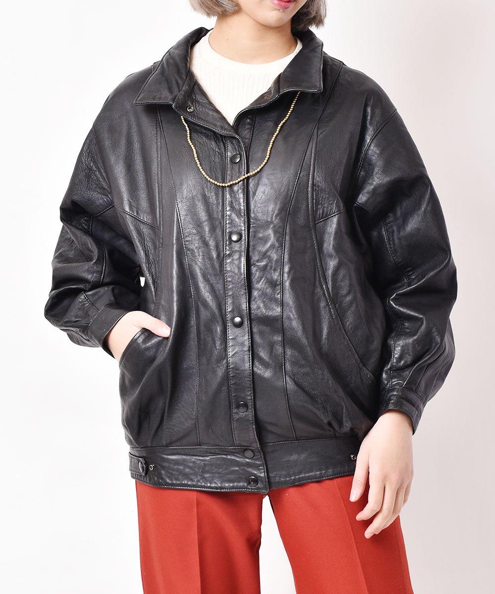 古着 レザー 切り替えジャケット 古着 ネット 通販 古着屋グレープフルーツムーン